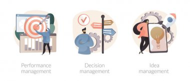 Business efficiency abstract concept vector illustration set. Performance management, decision-making, new idea development, employee productivity, enterprise analysis software abstract metaphor. icon