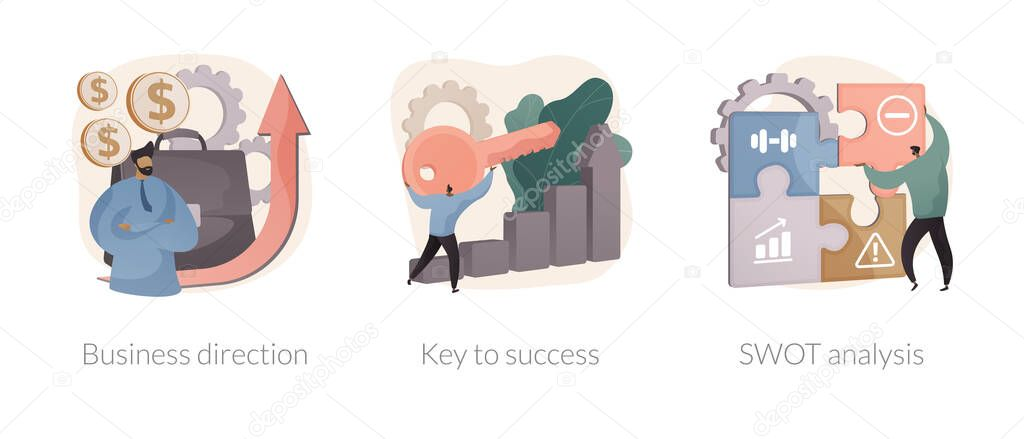 Company growth abstract concept vector illustration set icon