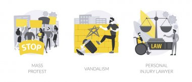 Riots outrage abstract concept vector illustration set. Mass protest, vandalism, personal injury lawyer, demonstration, political rights, racial equity, law enforcement, damage abstract metaphor. icon