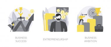 Business success abstract concept vector illustration set. Key to success, entrepreneurship, business ambition, teamwork and collaboration, company growth, decision making abstract metaphor. icon