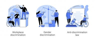 Equal rights abstract concept vector illustration set. Workplace and gender discrimination, anti-discrimination law, roles and stereotypes, sexual harassment, social equality abstract metaphor. icon