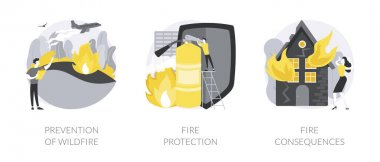 Firefighting service abstract concept vector illustration set. Prevention of wildfire, fire protection and consequences, smoke detector, save wildlife, fire alarm system abstract metaphor. icon