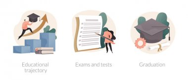 Getting an academic degree abstract concept vector illustration set. Educational trajectory, exams and tests, graduation day, school classroom, exam timetable, test results abstract metaphor. icon