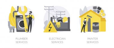 Contractor services abstract concept vector illustration set. Plumber and electrician services, residential, commercial painting, heating installation, home automation, renovation abstract metaphor. icon