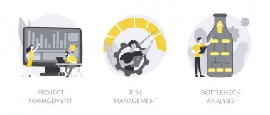 Project planning abstract concept vector illustration set. Project and risk management, bottleneck analysis, agile methodology, IT professional, workflow improvement, software abstract metaphor. icon