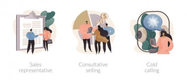 Direct marketing abstract concept vector illustration set. Sales representative, consultative selling, cold calling, salesman coaching, reaching customer, telemarketing abstract metaphor. icon