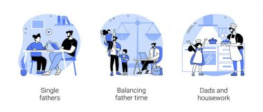 Fatherhood abstract concept vector illustration set. Single fathers, balancing father time, dads and housework, feeding baby, happy kid and family, chores at home, time together abstract metaphor. icon
