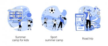 Active summertime abstract concept vector illustration set. Summer camp for kids, sport skills development, road trip, socializing, scout camping, traveling by car, rental service abstract metaphor. icon