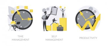 Productivity software abstract concept vector illustration set. Time management, self management, productivity at work, project schedule, employee performance, effective planning abstract metaphor. icon