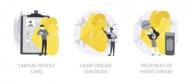 Heart attack abstract concept vector illustration set. Cardiac patient card, heart disease diagnosis and treatment, blood test, hospital care, heartbeat rate and chest pain abstract metaphor. icon