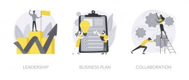 Startup development abstract concept vector illustration set. Leadership and business plan, collaboration, mutual assistance, managing skills, effective communication, entrepreneur abstract metaphor. icon