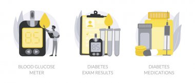 Diabetes mellitus abstract concept vector illustration set. Blood glucose meter, diabetes exam results and medications, sugar level control, chronic disease, insulin injection abstract metaphor. icon