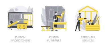 Home renovation abstract concept vector illustration set. Custom made kitchen and furniture, carpenter services, bespoke design idea, backsplash tile, artisan manufacturing abstract metaphor. icon