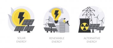 Alternative source of electricity abstract concept vector illustration set. Solar energy, renewable sources, solar panels, wind turbine, eco green house, save natural resources abstract metaphor. icon