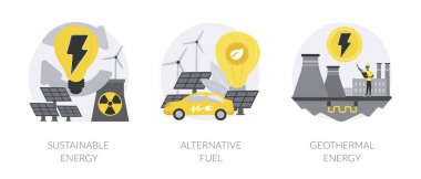 Smart green energy abstract concept vector illustration set. Sustainable energy, alternative fuel, geothermal system, renewable sources, wind turbine, solar panels, heat pump abstract metaphor. icon