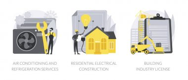 Builder contractor services abstract concept vector illustration set. Air conditioning and refrigeration services, residential electrical construction, building industry license abstract metaphor. icon
