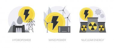 Sustainable energy source abstract concept vector illustration set. Hydropower, wind power and nuclear energy, dam turbine, green electricity supply, uranium atom, environment abstract metaphor. icon