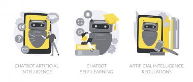 Machine learning abstract concept vector illustration set. Chatbot artificial intelligence, virtual assistant self learning, AI development law regulations, language processing abstract metaphor. icon