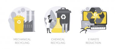 Industrial waste management abstract concept vector illustration set. Mechanical and chemical recycling, e-waste reduction, processing for reuse, trash disposal and utilization abstract metaphor. icon
