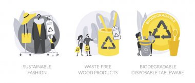 Eco-friendly materials abstract concept vector illustration set. Sustainable fashion, waste-free wood products, biodegradable disposable tableware, zero waste, green technologies abstract metaphor. icon