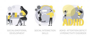 Kids emotional management abstract concept vector illustration set. Social development and interaction skills, attention deficit hyperactivity disorder, autism diagnostics, ADHD abstract metaphor. icon