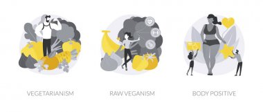 Healthy lifestyle abstract concept vector illustration set. Vegetarianism and raw veganism, body positive, juice and sprout diet, fresh organic products, body detox, self-confidence abstract metaphor. icon