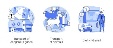 Transit and logistics abstract concept vector illustration set. Transport of dangerous goods, animal transportation, cash-in-transit, barrels storage, truck trailer, container abstract metaphor. icon