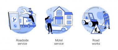 Road service abstract concept vector illustration set. Roadside service, highway motel, bed and breakfast, rooms for rent, road works, mechanical repair, help to driver abstract metaphor. icon