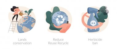 Nature protection abstract concept vector illustration set. Lands conservation, Reduce Reuse Recycle, herbicide ban, waste management, organic farming, green agriculture, upcycling abstract metaphor. icon