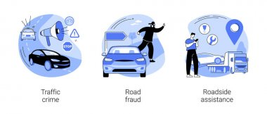 Troubles on the road abstract concept vector illustration set. Traffic crime, road fraud, roadside assistance, rules violation, pick up hitchhiker, change flat tire, car repair abstract metaphor. icon