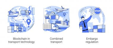 Commercial transportation industry abstract concept vector illustration set. Blockchain in transport technology, combined transport, embargo regulation, goods movement, trading ban abstract metaphor. icon