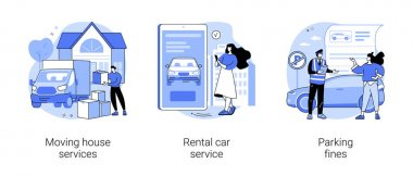 Domestic transport abstract concept vector illustration set. Moving house services, car rental, parking fines, movers and packing, online car booking, key lock, no parking zone abstract metaphor. icon