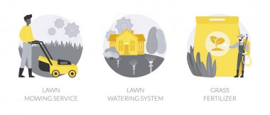 Gardening services abstract concept vector illustration set. Lawn mowing service, lawn watering system, grass fertilizer, aeration and weeding, dandelion removal, irrigation abstract metaphor. icon
