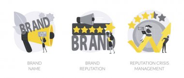 Brand public relations abstract concept vector illustration set. Brand name and reputation, crisis management, identity guidelines, logo and trademark, online ranking and feedback abstract metaphor. icon