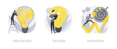 Problem solving skills abstract concept vector illustration set. Creative idea, decision making and motivation, boost creativity, business leadership, achievement and success abstract metaphor. icon