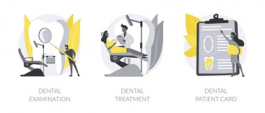 Dental care service abstract concept vector illustration set. Dental examination and treatment, patient card, visit a dentist, toothache emergency help, orthodontic procedure abstract metaphor. icon