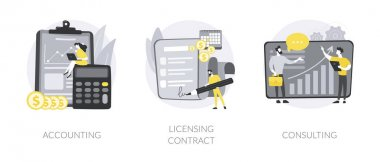 Professional help abstract concept vector illustration set. Accounting, licensing contract, consulting firm, tax advisor, audit service, expert advice, software copyright, agreement abstract metaphor. icon