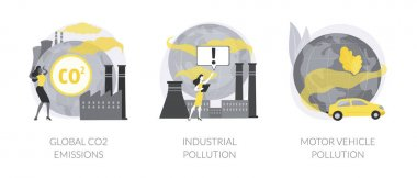 Global carbon footprint abstract concept vector illustration set. Global CO2 emissions, industrial pollution, motor vehicle emission reduction, greenhouse effect, transportation abstract metaphor. icon