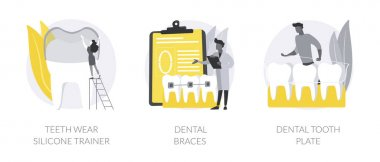 Orthodontic care abstract concept vector illustration set. Teeth wear silicone trainer, dental braces, tooth plate, crowded tooth treatment, teeth aligner and retainer, brackets abstract metaphor. icon