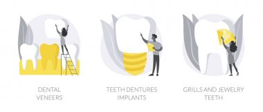 Teeth aesthetics abstract concept vector illustration set. Dental veneers, teeth dentures implant, grills jewelry, celebrity smile, whitening, cosmetic dentistry, orthodontic clinic abstract metaphor. icon