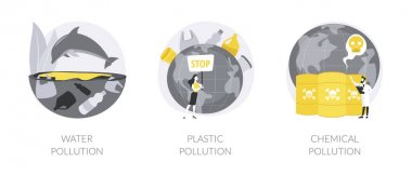 Environmental issue abstract concept vector illustration set. Water pollution, plastic ocean, landfill chemical contamination, hazardous waste, climate change, dangerous trash abstract metaphor. icon