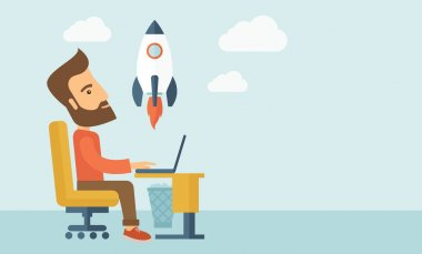 An enthusiastic, eager hipster Caucasian young man with beard sitting in front of his laptop browsing, researching  and planning a metaphor for new business. On-line start up business concept. A stock vector