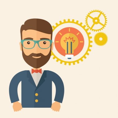 A young good looking, smart hipster Caucasian man with beard thinking a new bright idea, a different kind of imagination inspired by bulb shape. Human intelligence concept. A contemporary style with stock vector