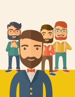 Team of four happy hipster Caucasian business people with beard, standing clapping their hands and smiling. Winner, teamwork concept. A contemporary style with pastel palette, beige tinted background clip art vector