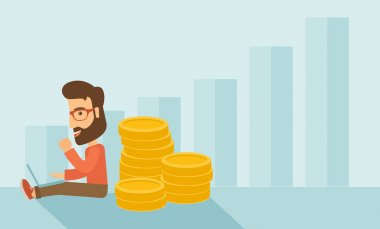 Successful hipster Caucasian businessman with beard is sitting with a pile of gold coins on his back and a laptop on his lap. Winner concept,  A contemporary style with pastel palette soft blue tinted stock vector