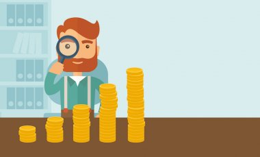 A hipster Caucasian businessman with beard looking his growing business in financial crisis concept. Economy and money, coin and success. When others falls, we rise up. A contemporary style with stock vector