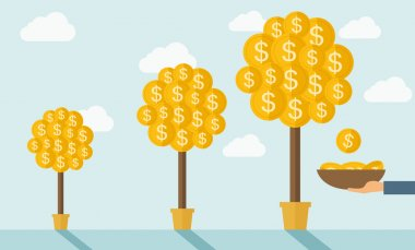 Three steps in growing a money dollar plant from small to bigger plant in a pot. Financial growth concept.  A contemporary style with pastel palette soft blue tinted background with desaturated clouds clip art vector