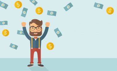 A young hipster Caucasian businessman happy under falling raining money shower a coin and bill dollar money. Winner, happy concept. A contemporary style with pastel palette soft blue tinted background stock vector