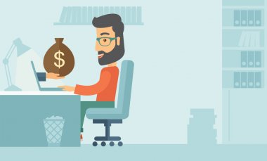 Businessman with beard wearing glasses sitting infront of his table working at a laptop searching and browsing with bag of money on hand inside the office. Business concept. A contemporary style with clip art vector