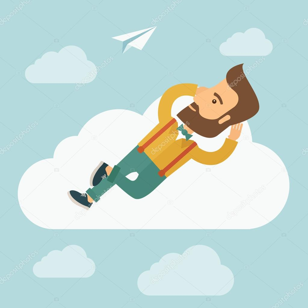 Beard man lying on a cloud